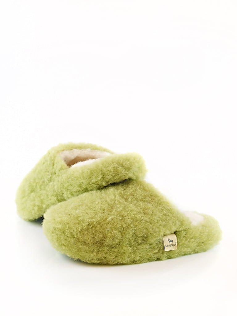 Papuci de casă lână cu talpă aniderapantă green pea Comfy Junior Alwero