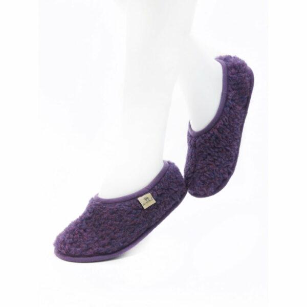Papuci de casă lână cu talpă aniderapantă violet Ballerinas Alwero