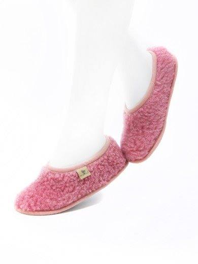 Papuci de casă lână cu talpă antiderapantă pink Ballerinas Alwero