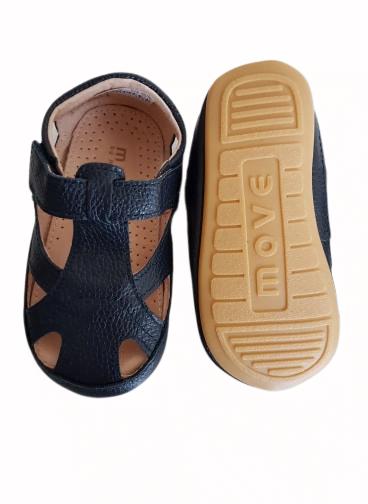 Sandale barefoot din piele naturală pentru primii pași Navy Move By Melton 2