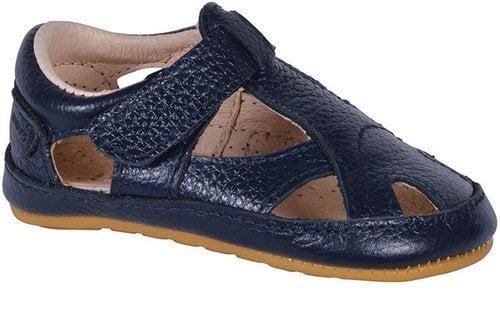 Sandale barefoot din piele naturală pentru primii pași Navy Move By Melton