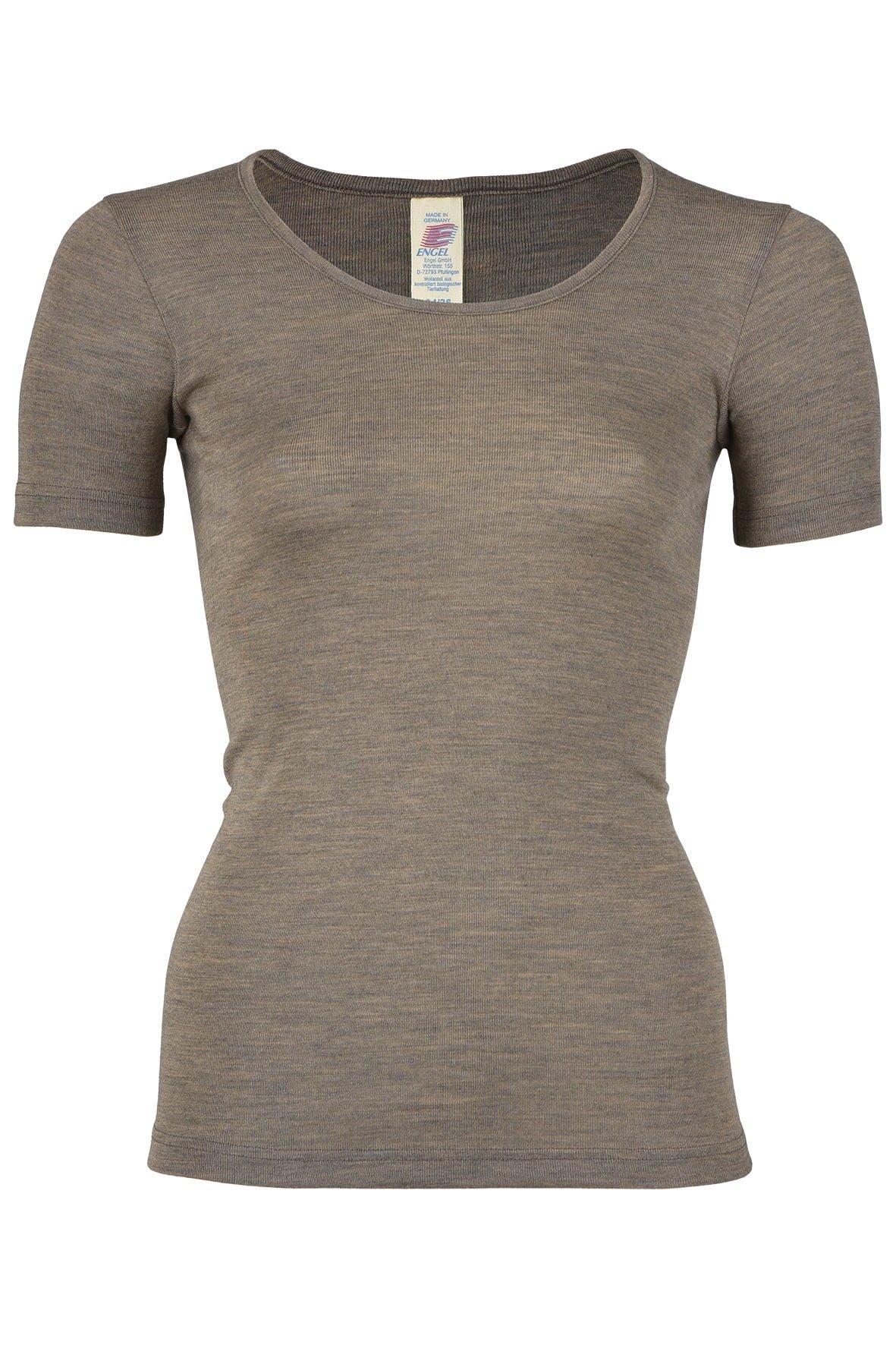 Tricou walnut din lână merinos şi mătase organică pentru femei - Engel