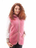 Vestă adulţi lână merinos pink Everest Alwero