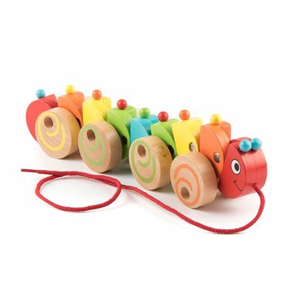 Jucărie de tras din lemn Omida colorată Viga