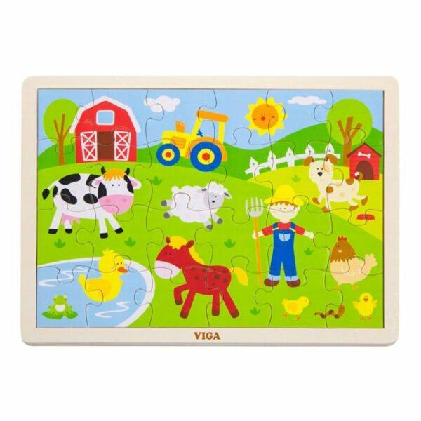 Puzzle din lemn La fermă 24 bucăți Viga