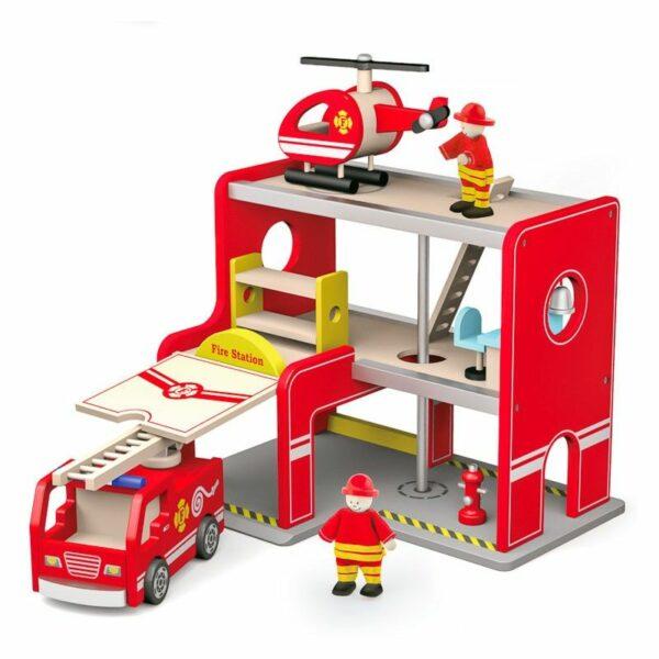 Stație de pompieri din lemn cu elicopter și pompieri Viga