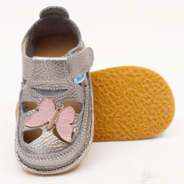 Sandale barefoot din piele Fluturaș Argintiu Roz Dodo