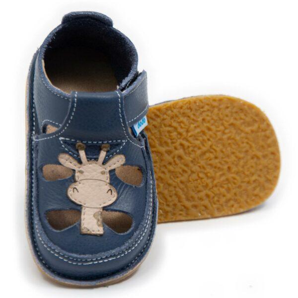 Sandale barefoot din piele Giraffe Smokey Sky Dodo