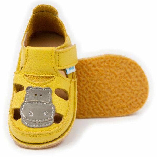 Sandale barefoot din piele Hipo Galben Dodo