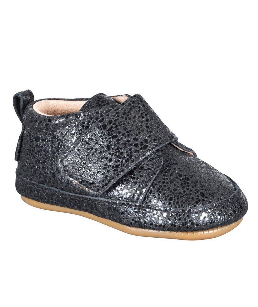 Pantofi barefoot din piele naturală pentru primii pași Black Dotted Move By Melton