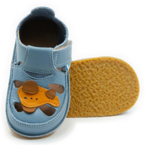 Sandale barefoot din piele Avion Baby Blue Dodo