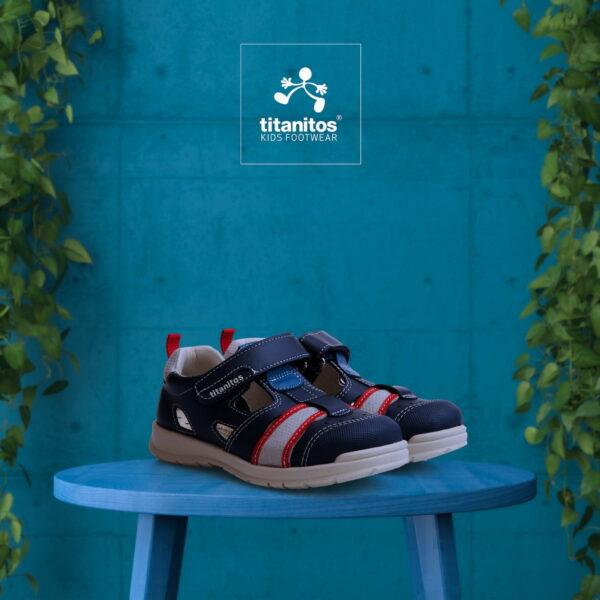 Sandale din piele naturală pentru copii Aurelio Navy Titanitos