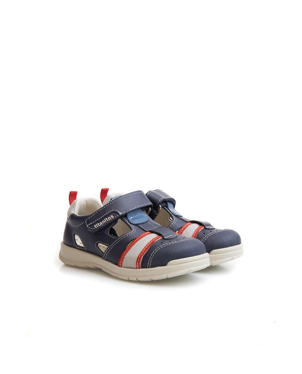 Sandale din piele naturală pentru copii Aurelio Navy Titanitos 2