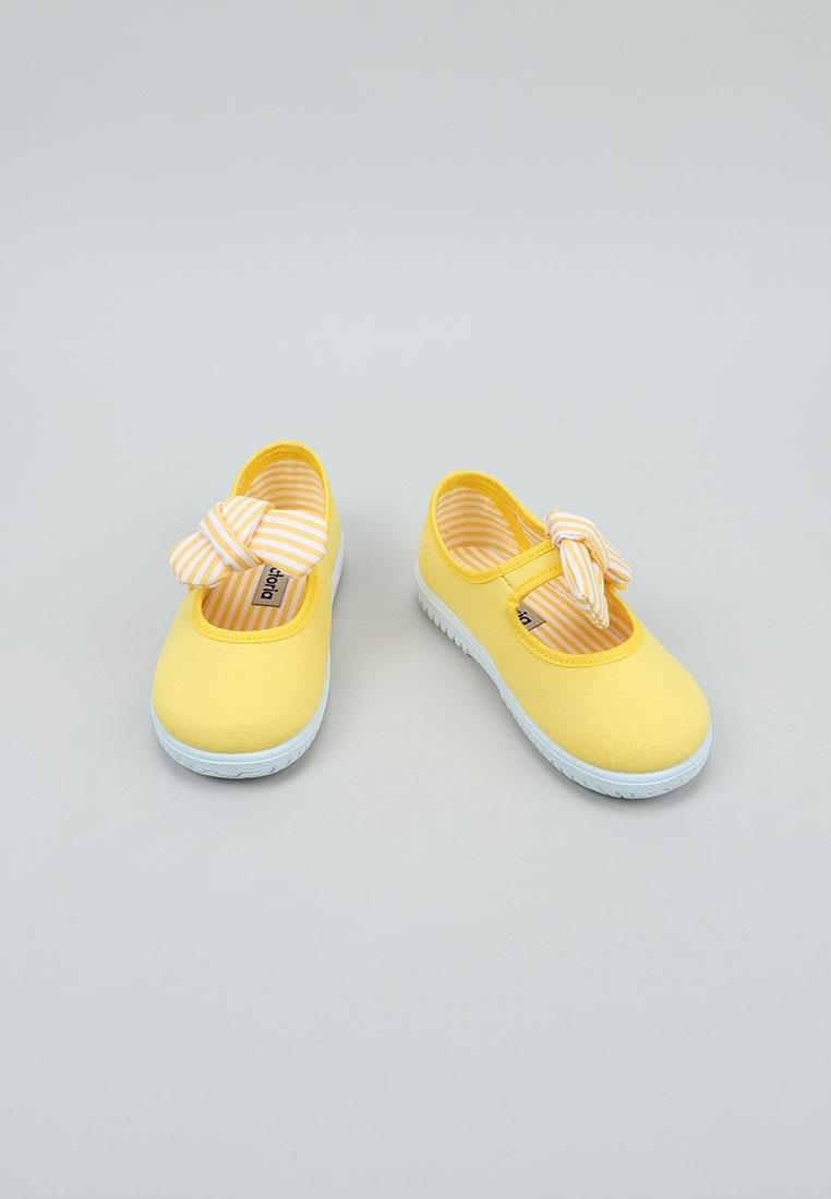 Balerini pentru copii cu velcro și fundiță amarillo Victoria 2