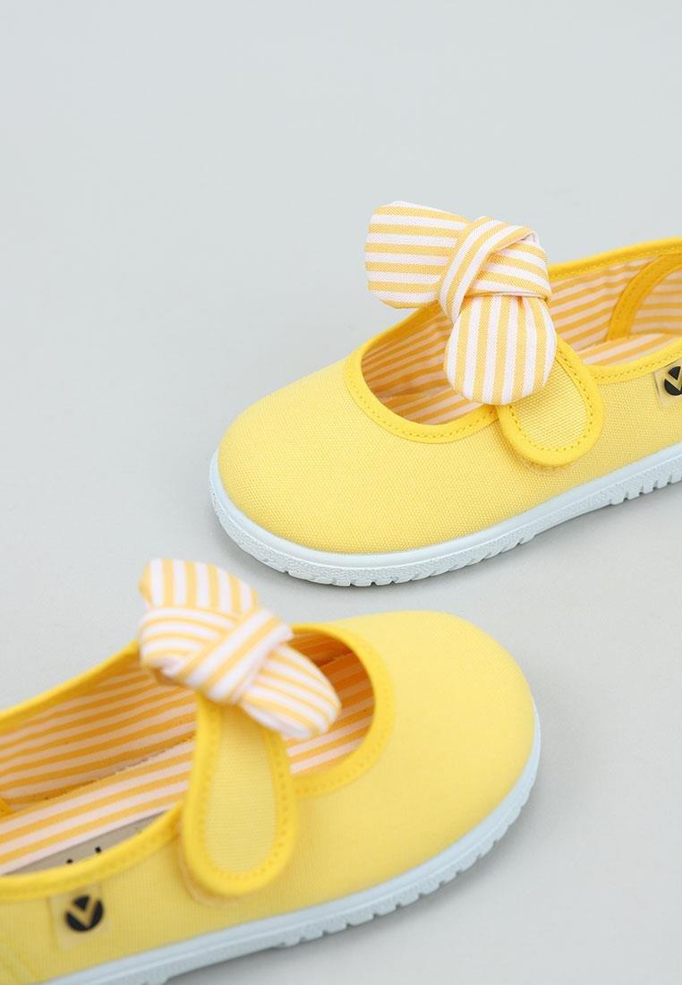 Balerini pentru copii cu velcro și fundiță amarillo Victoria 3