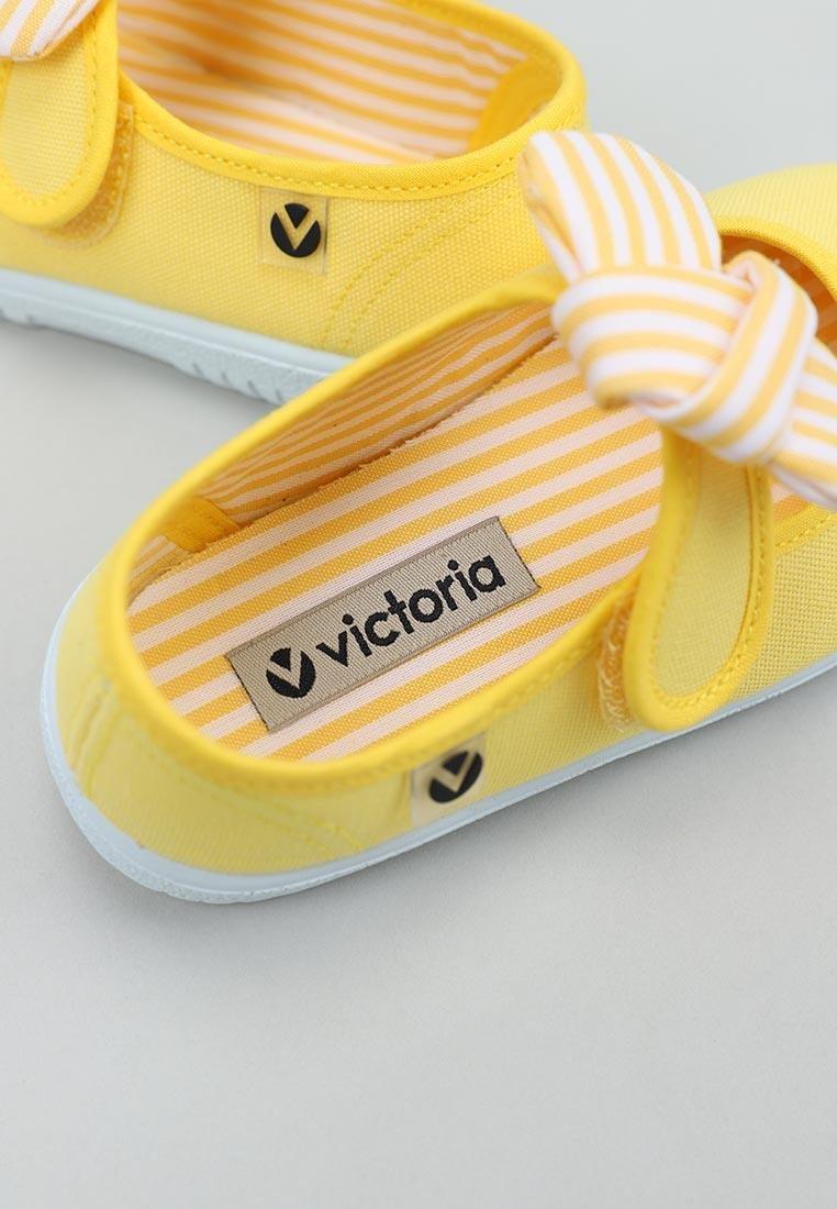 Balerini pentru copii cu velcro și fundiță amarillo Victoria 4