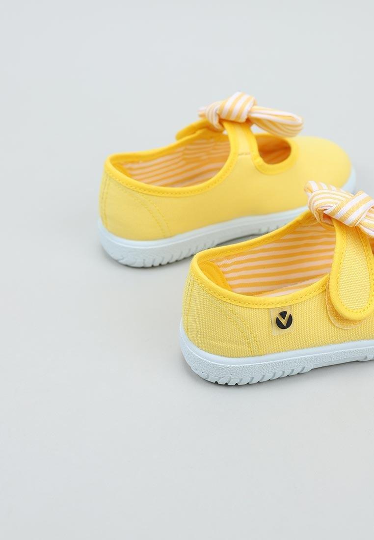 Balerini pentru copii cu velcro și fundiță amarillo Victoria 5