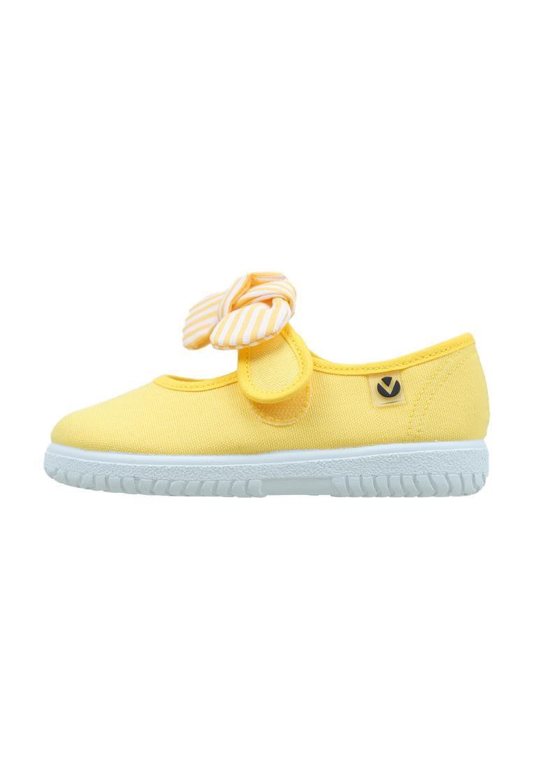 Balerini pentru copii cu velcro și fundiță amarillo Victoria 6