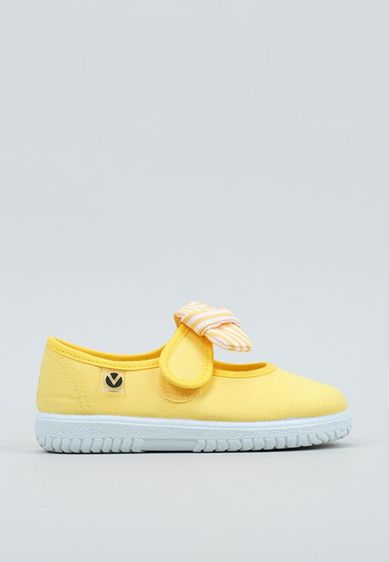 Balerini pentru copii cu velcro și fundiță amarillo Victoria