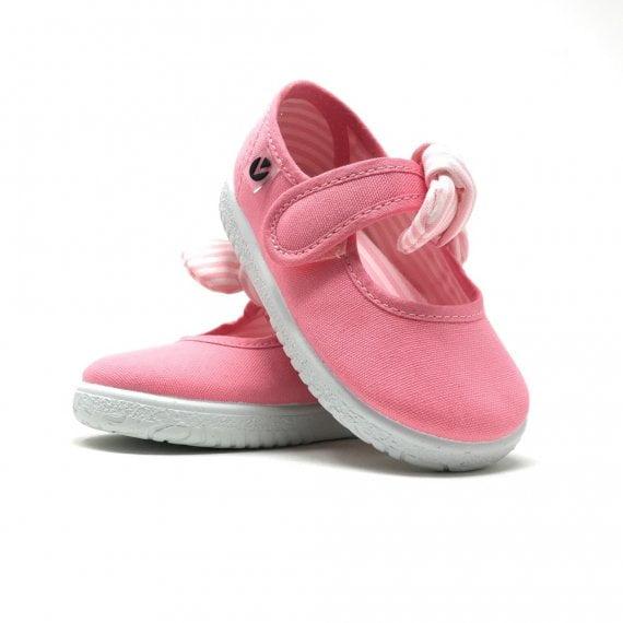 Balerini pentru copii cu velcro și fundiță flamingo Victoria 2