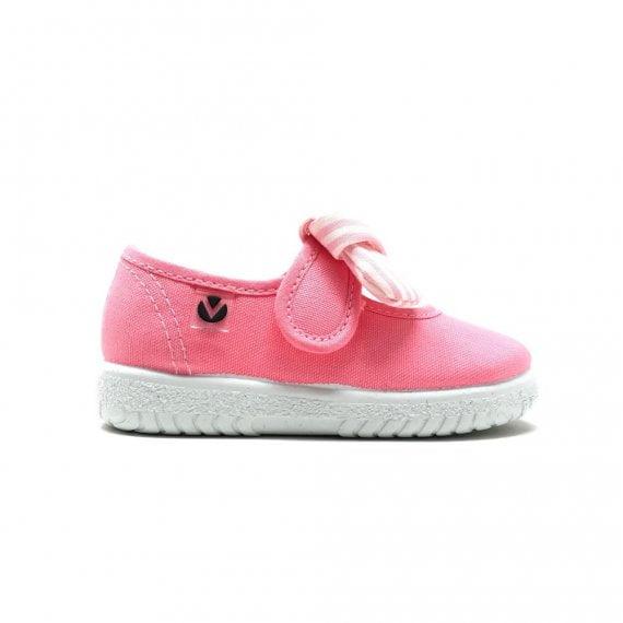 Balerini pentru copii cu velcro și fundiță flamingo Victoria 4