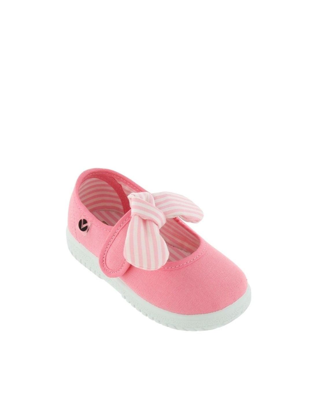 Balerini pentru copii cu velcro și fundiță flamingo Victoria