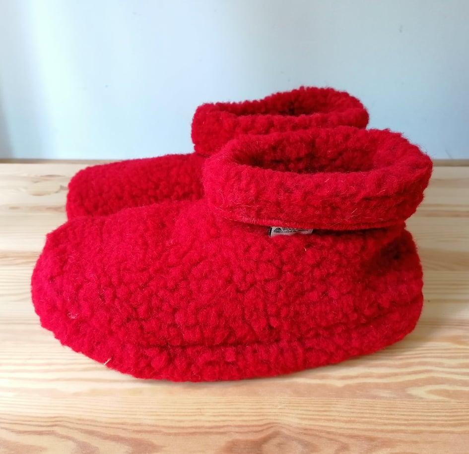 Papuci de casă lână cu talpă aniderapantă deep red Dado Alwero 2