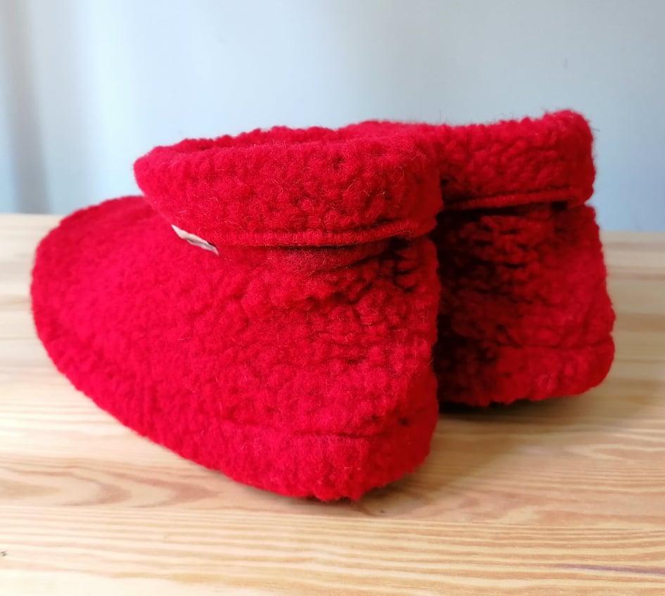 Papuci de casă lână cu talpă aniderapantă deep red Dado Alwero 4