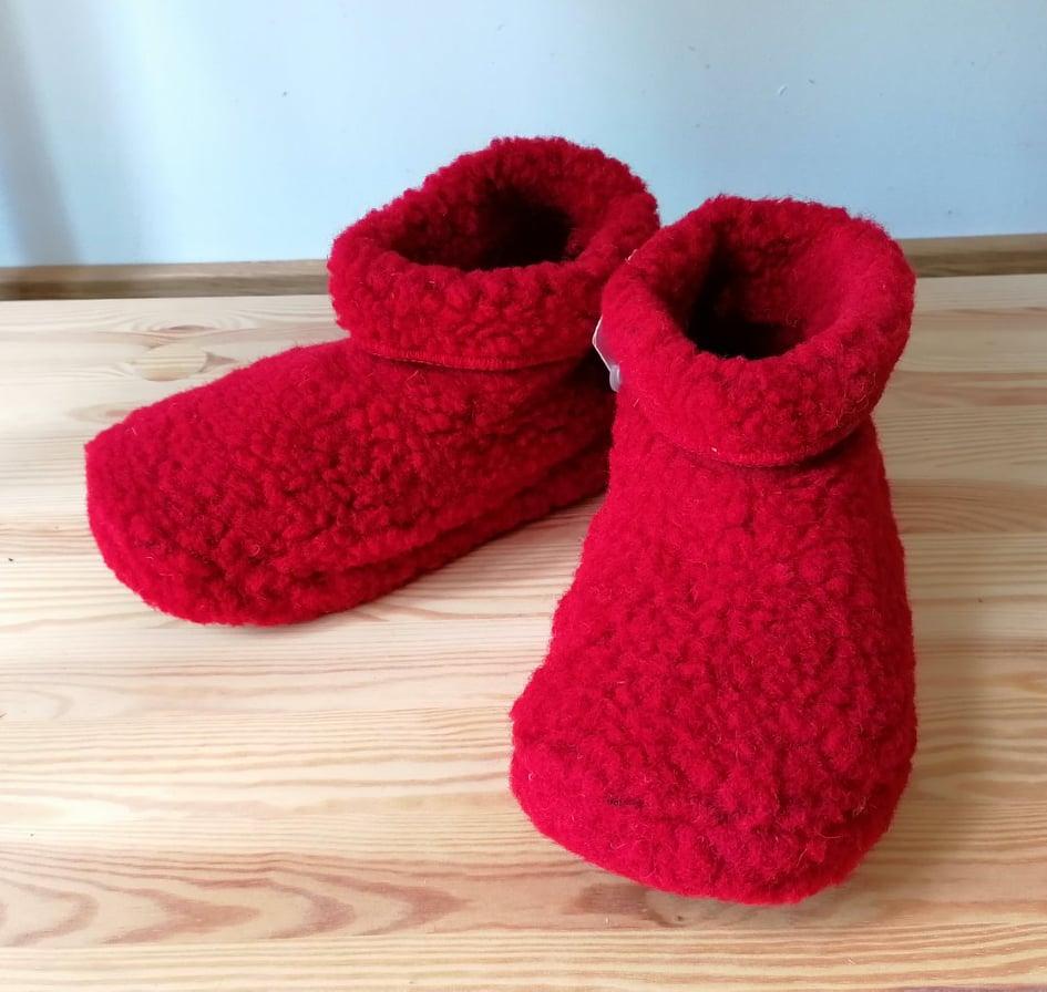 Papuci de casă lână cu talpă aniderapantă deep red Dado Alwero