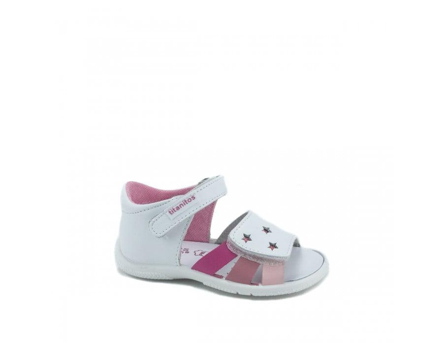 Sandale din piele naturală pentru copii Cala Blanco Rosa Titanitos 2