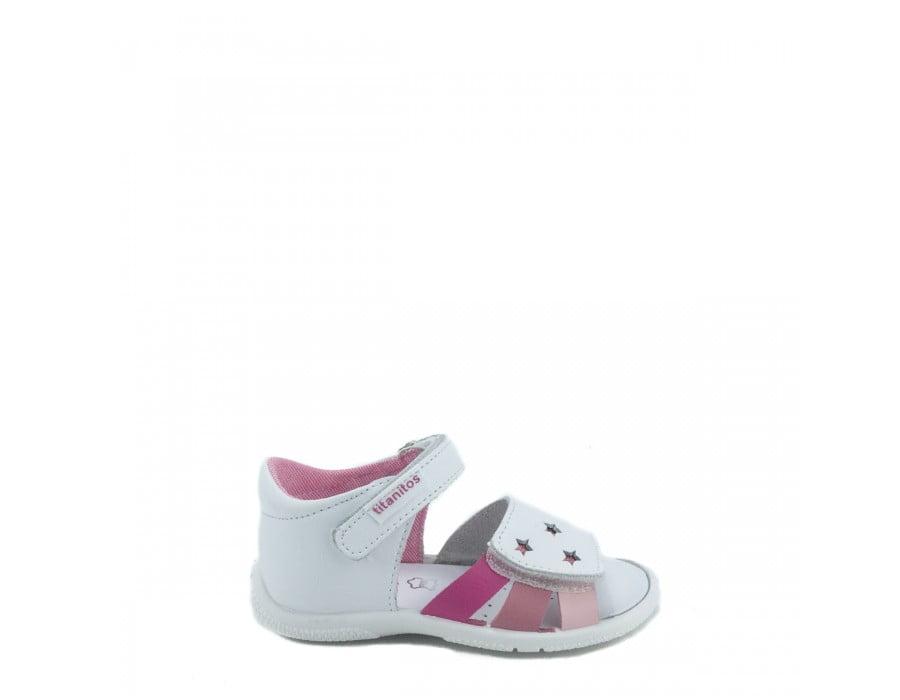 Sandale din piele naturală pentru copii Cala Blanco Rosa Titanitos 3