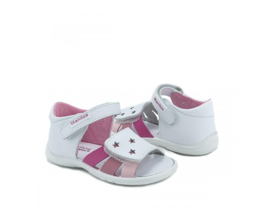 Sandale din piele naturală pentru copii Cala Blanco Rosa Titanitos