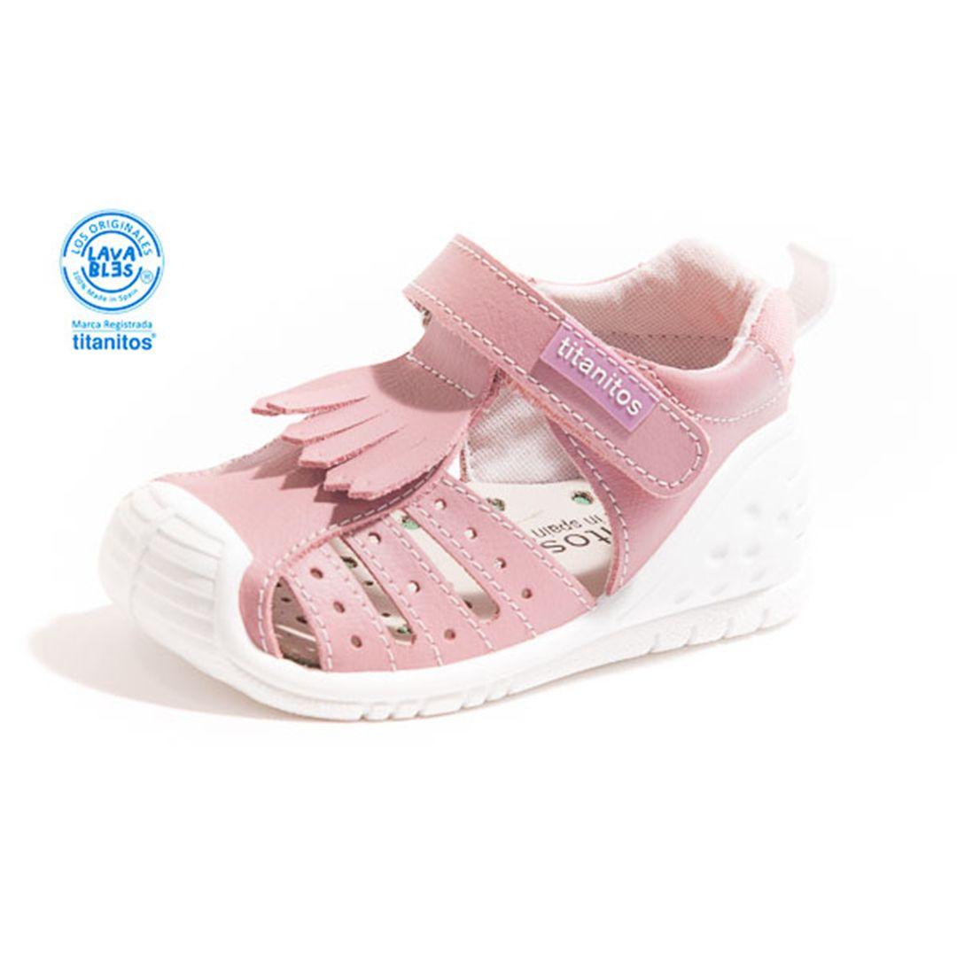 Sandale din piele naturală pentru copii cu talpă flexibilă Brittney Maquillaje Titanitos