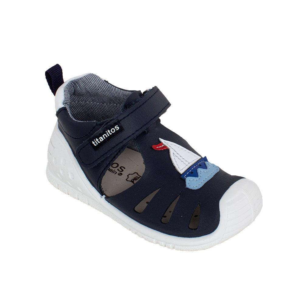 Sandale din piele naturală pentru copii cu talpă flexibilă Ignacio Navy Titanitos