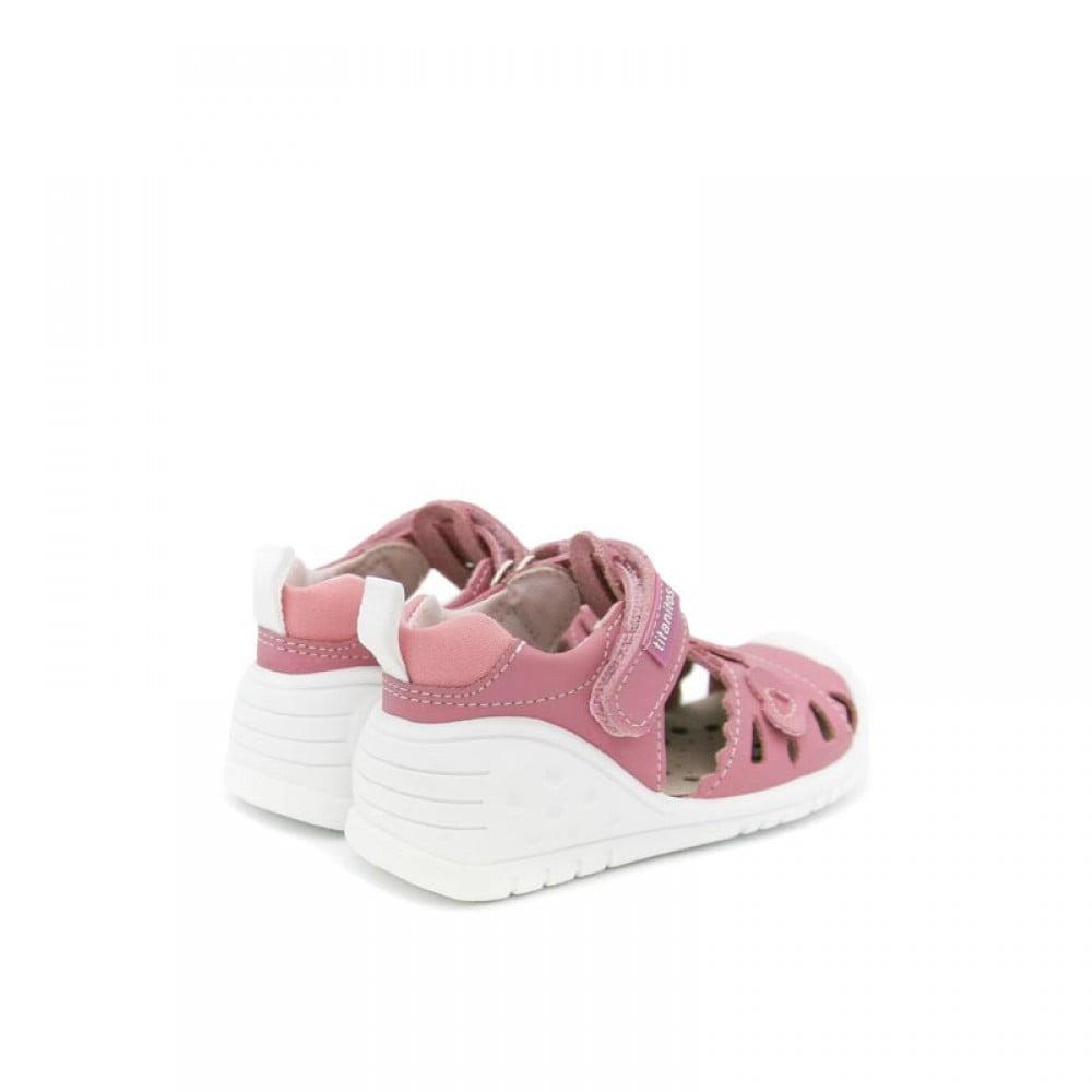 Sandale din piele naturală pentru copii cu talpă flexibilă Kristy Rosa Palo Titanitos 2