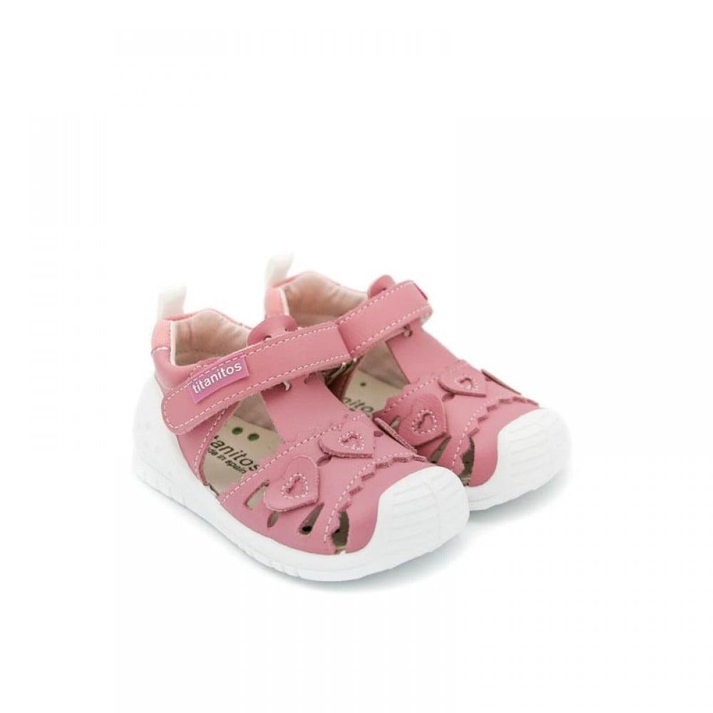 Sandale din piele naturală pentru copii cu talpă flexibilă Kristy Rosa Palo Titanitos
