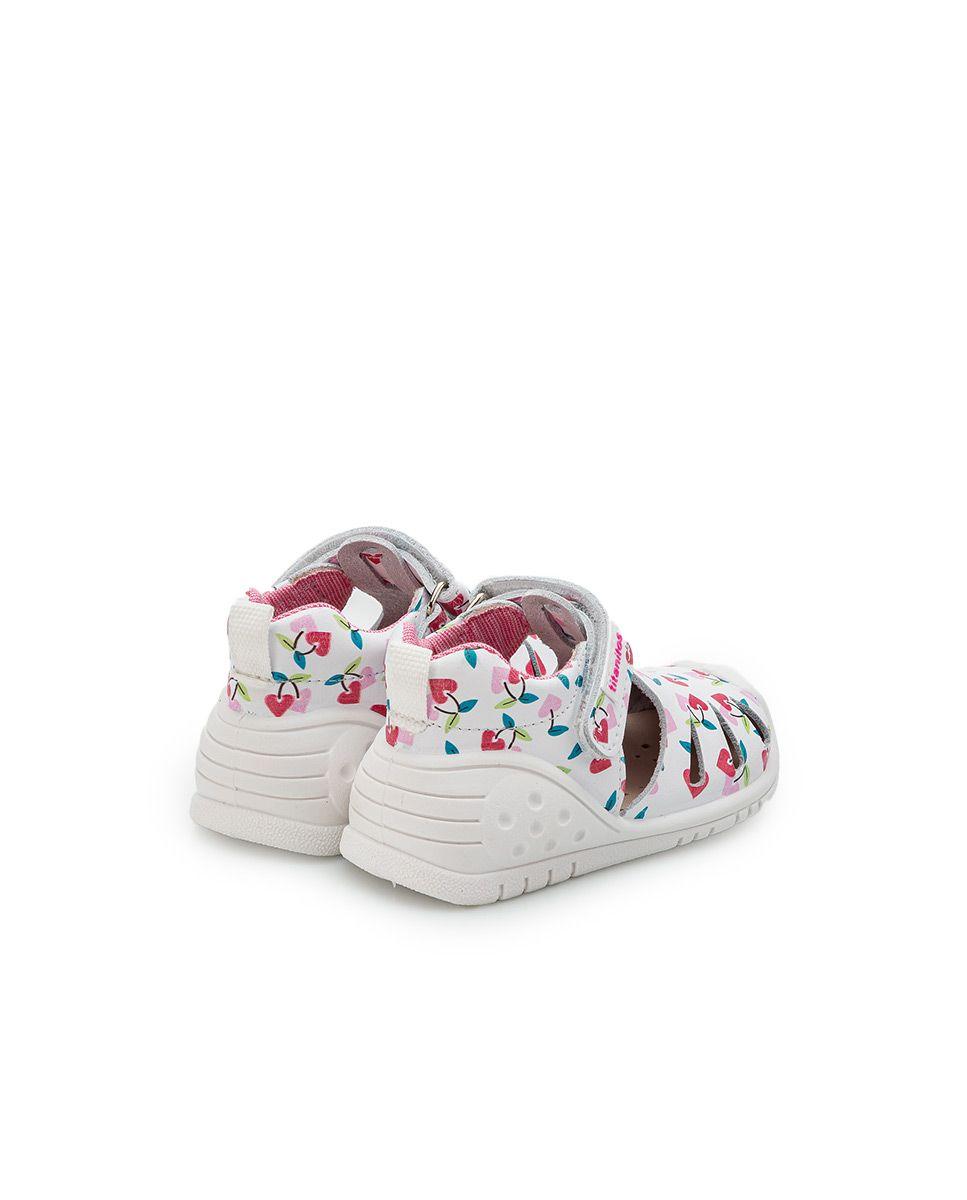 Sandale din piele naturală pentru copii cu talpă flexibilă Sally Blanco Titanitos 4