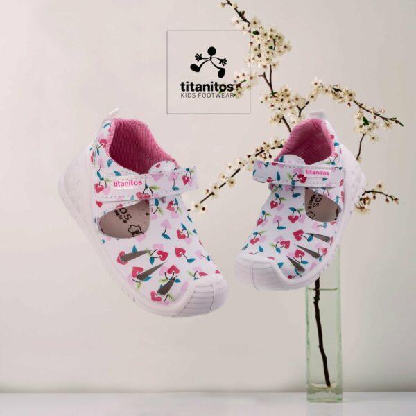 Sandale din piele naturală pentru copii cu talpă flexibilă Sally Blanco Titanitos