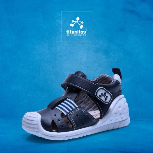 Sandale din piele naturală pentru copii cu talpă flexibilă Usa Navy Titanitos