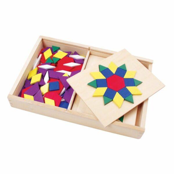 Set mozaic din lemn Tangram cu modele Viga