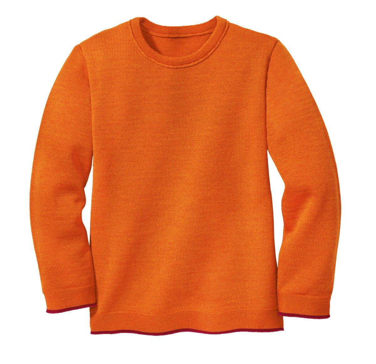 Pulover din lână merinos orange - bordeaux Disana