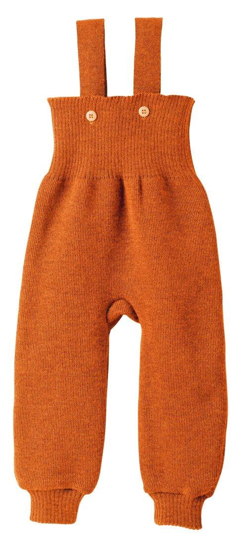 Pantaloni salopetă orange din lână merinos Disana