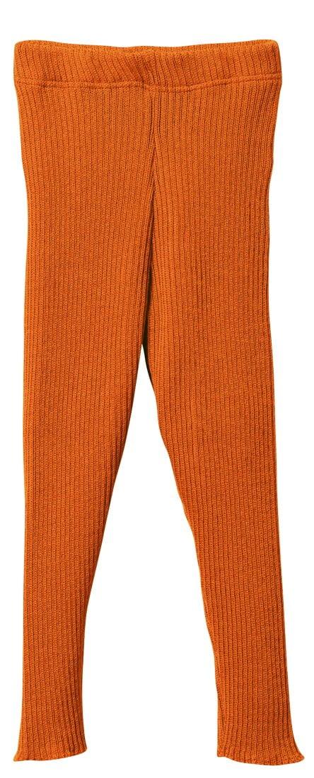 Colanţi orange din lână merinos organică Disana