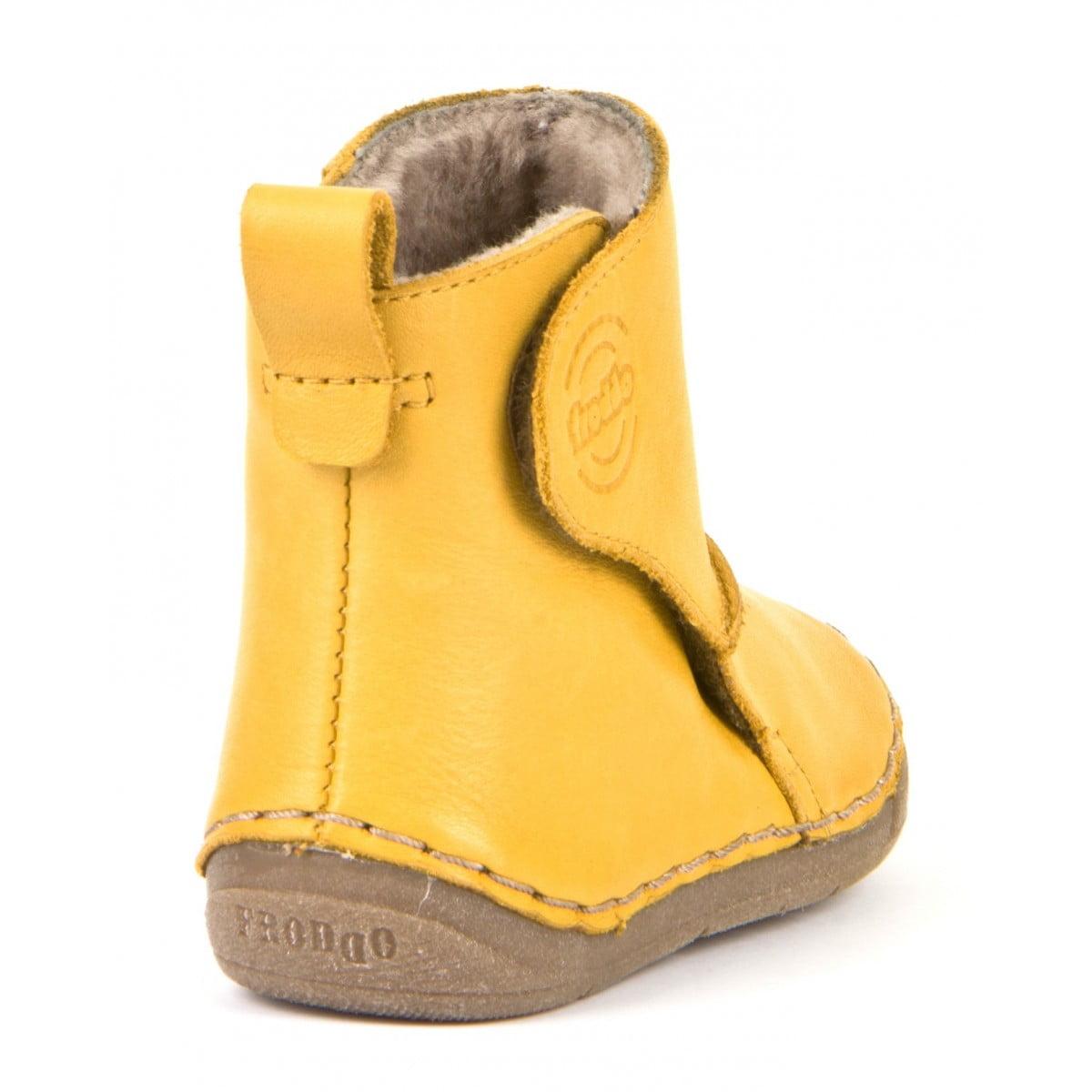 Cizme din piele căptuşite cu blană de miel şi închidere laterală cu velcro şi talpă extra flexibilă Froddo Yellow 1