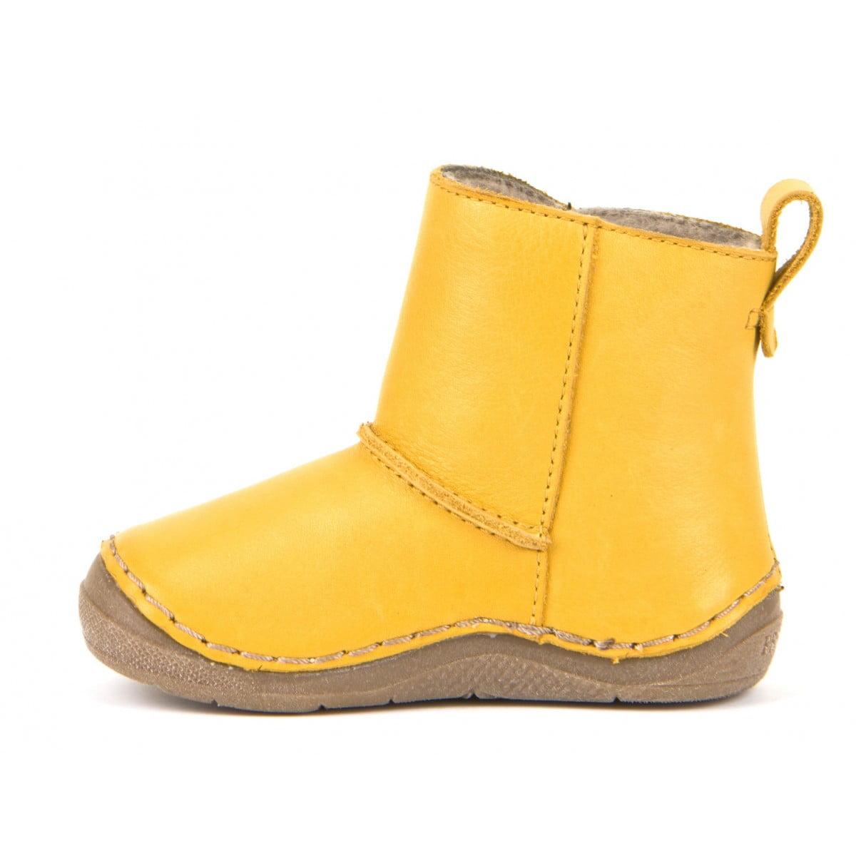 Cizme din piele căptuşite cu blană de miel şi închidere laterală cu velcro şi talpă extra flexibilă Froddo Yellow 4