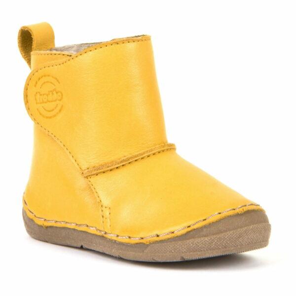Cizme din piele căptuşite cu blană de miel şi închidere laterală cu velcro şi talpă extra flexibilă Froddo Yellow