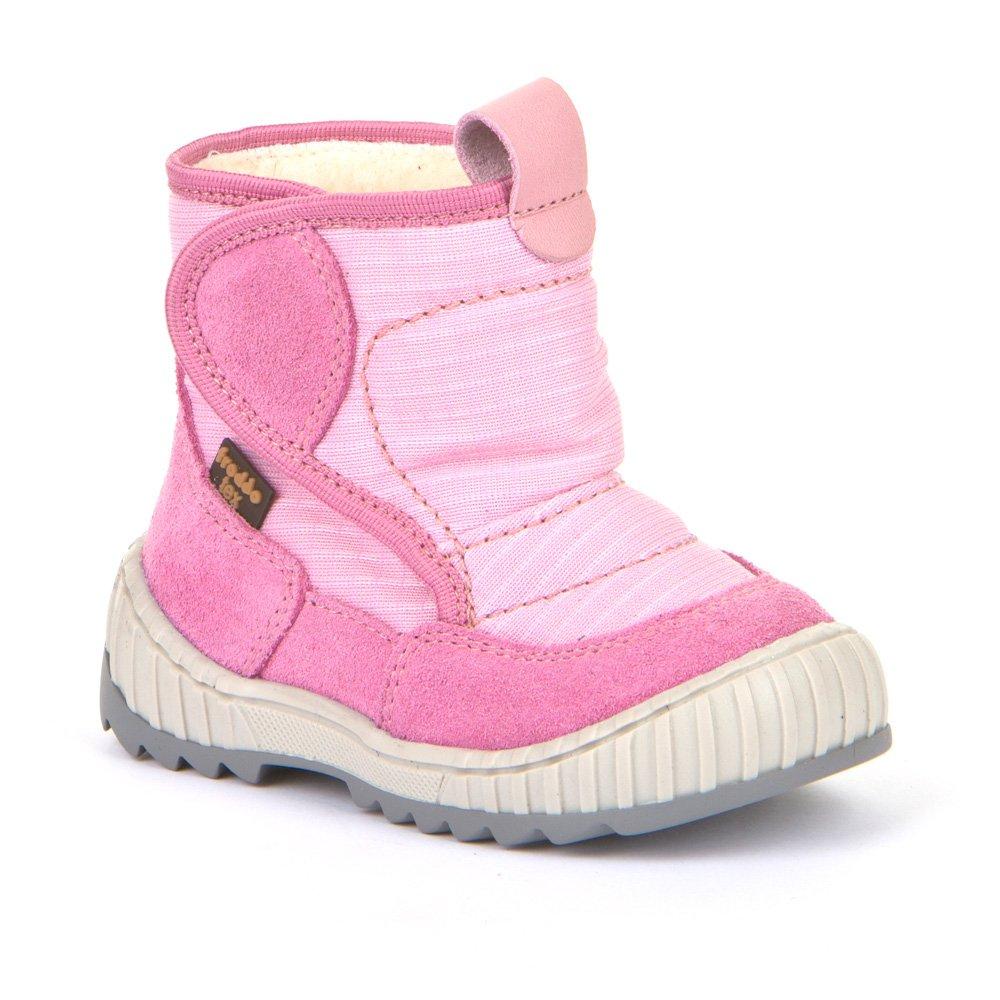 Cizme impermeabile cu velcro din piele şi material textil căptuşite cu lână naturală şi talpă flexibilă Froddo Pink