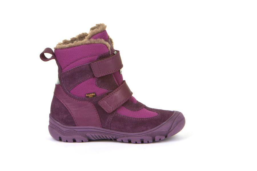 Cizme impermeabile din piele şi material textil căptuşite cu lână naturală şi talpă flexibilă Froddo Purple 1
