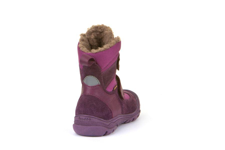 Cizme impermeabile din piele şi material textil căptuşite cu lână naturală şi talpă flexibilă Froddo Purple 2