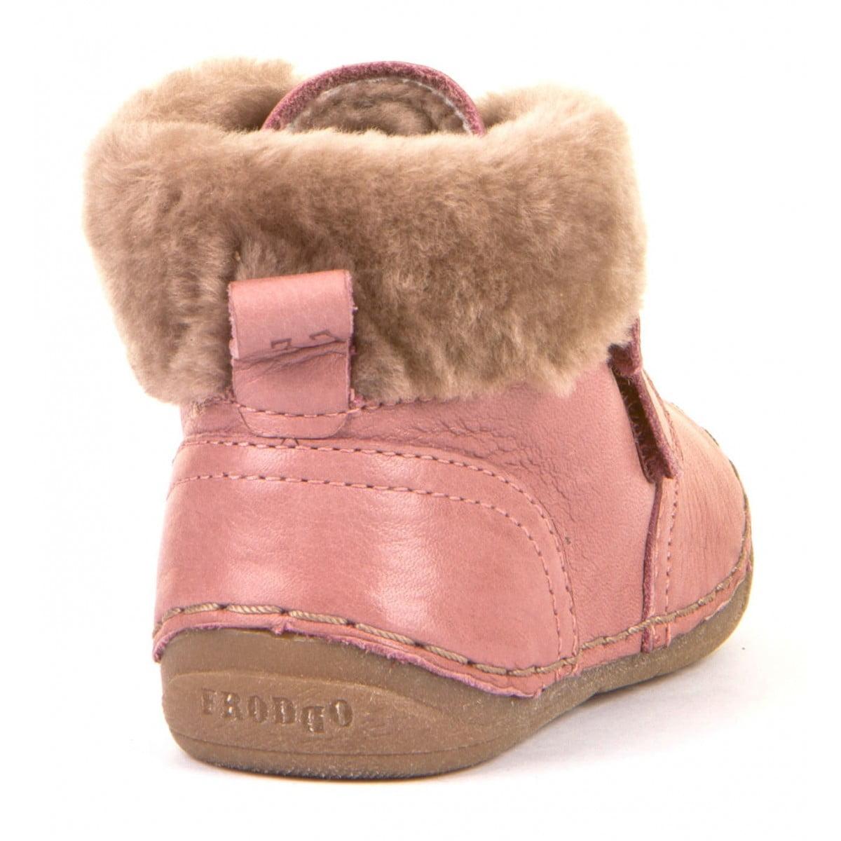 Ghete din piele căptuşite cu blană de miel şi talpă flexibilă pink Froddo 4